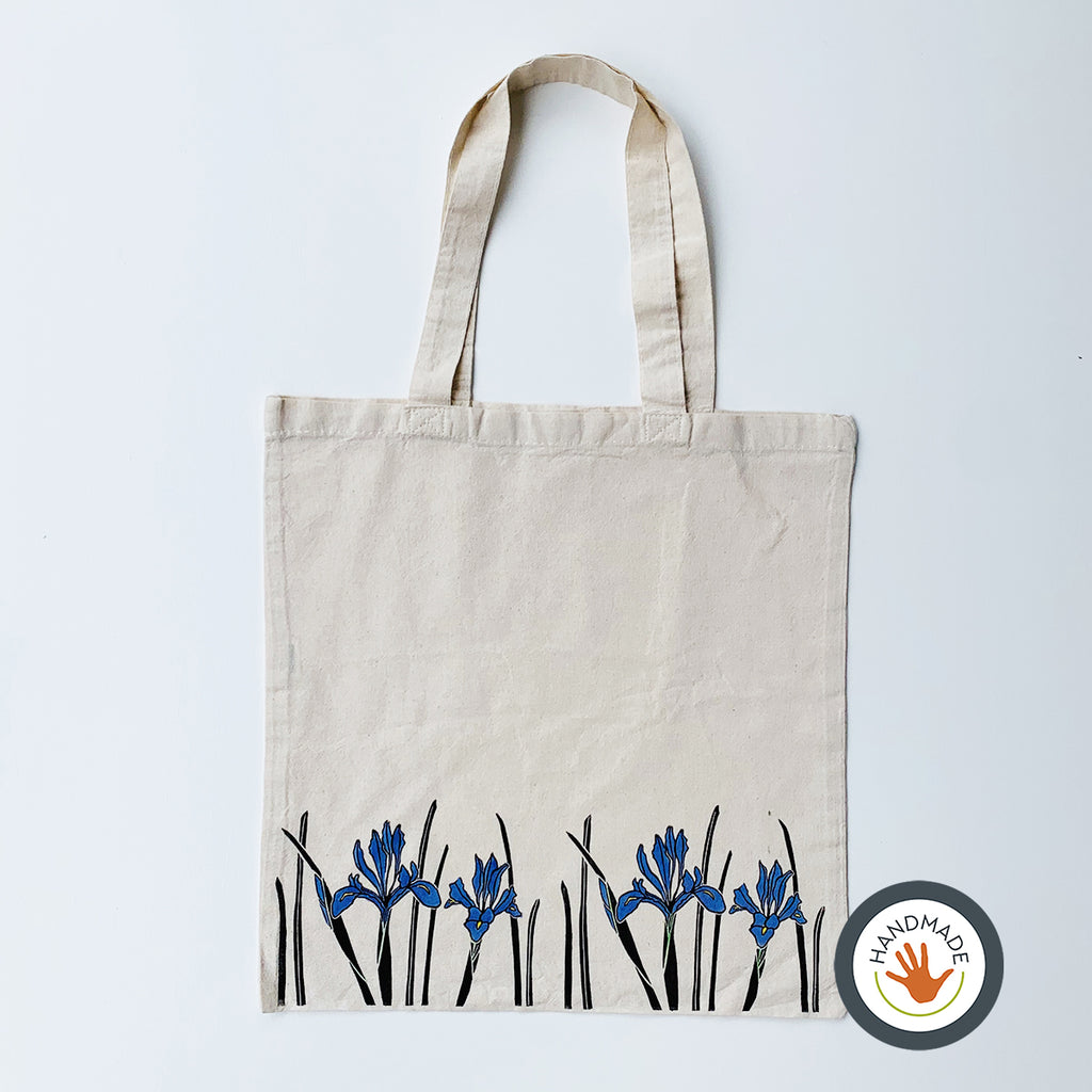 Lightweight Tote Bag | Iris | Spring Flowers Collection | Hand-printed & painted