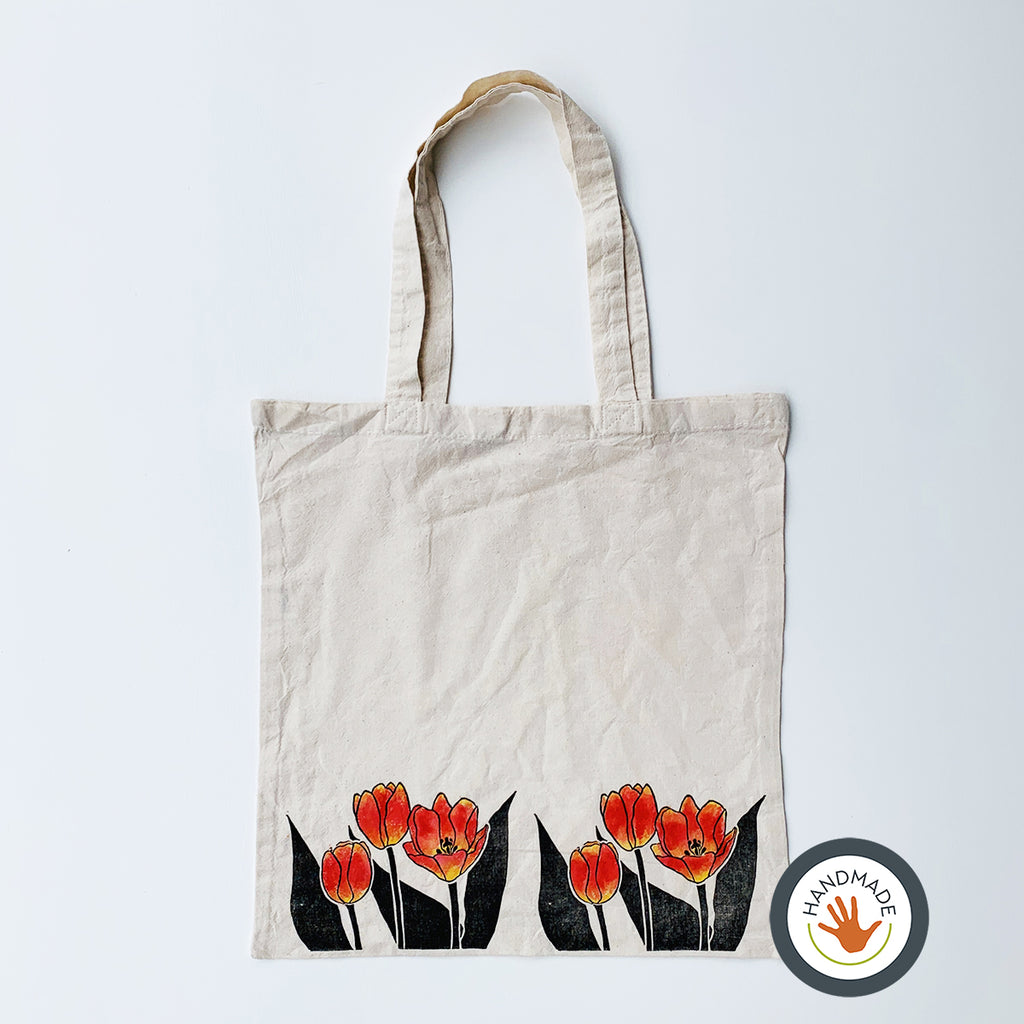 Lightweight Tote Bag | Tulips | Spring Flowers Collection | Hand-printed & painted