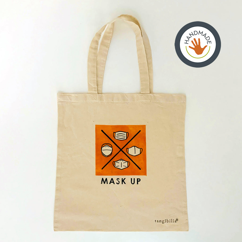 Tote | lightweight | Mask Up | Hand-printed | cotton | 2020 | retro | fun | block print | gift