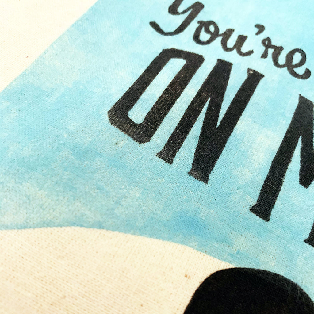 Tote | lightweight | You're on Mute | Hand-printed | cotton | 2020 | retro | fun | block print | gift | bag