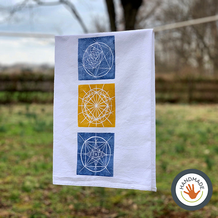 Flour sack towel | Celestial pattern | Blueprints collection | Hand-printed
