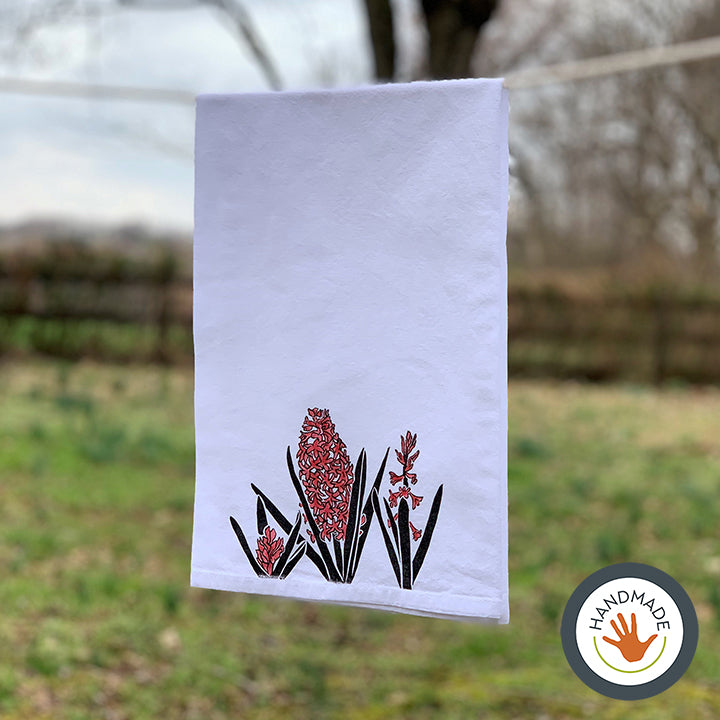 Tea towel | Hyacinth | Spring Flowers Collection | Hand-printed & painted
