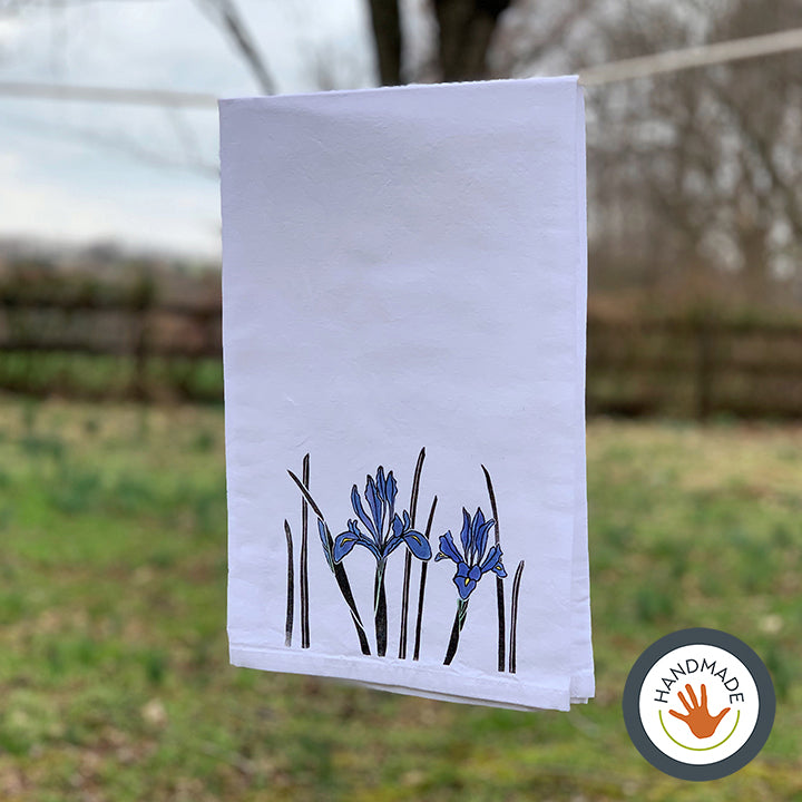 Tea towel | Iris | Spring Flowers Collection | Hand-printed & painted