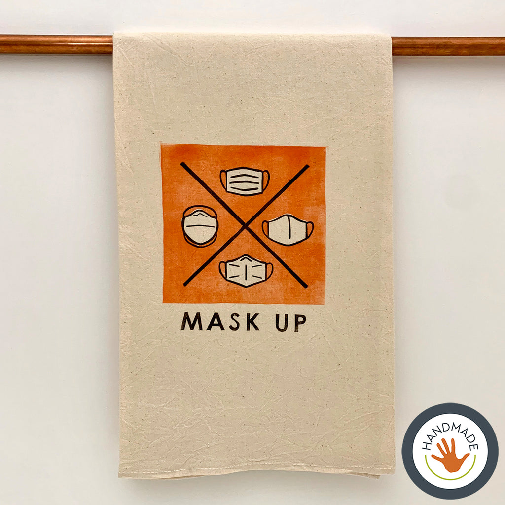 Tea towel | Mask Up | 2020 | handmade | block print | gift | kitchen | cotton | fun | retro | housewarming | foodie | vintage