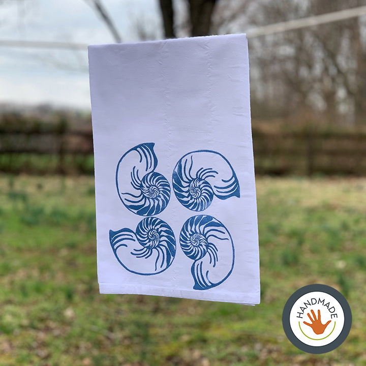 Tea towel | Nautilus shell | Seashells Collection | Hand-printed
