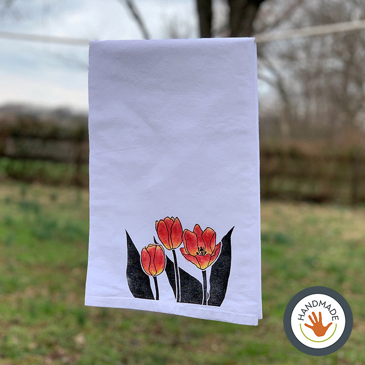 Tea towel | Tulips | Spring Flowers Collection | Hand-printed & painted