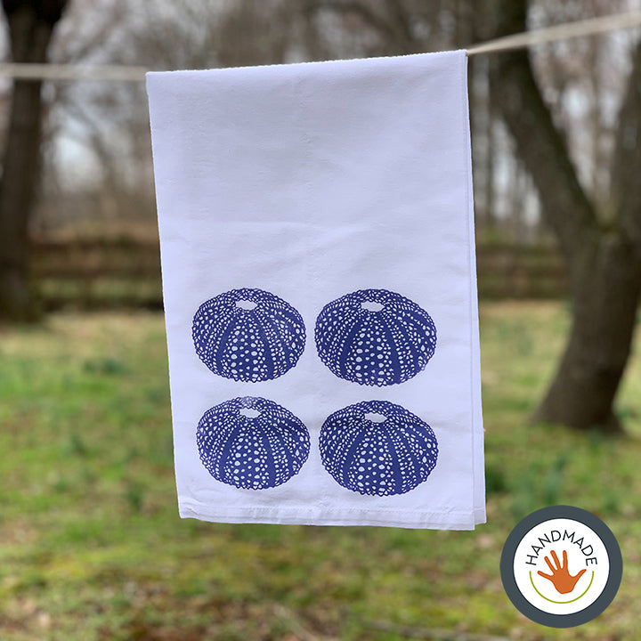 Tea towel | Sea urchin shell | Seashells Collection | Hand-printed