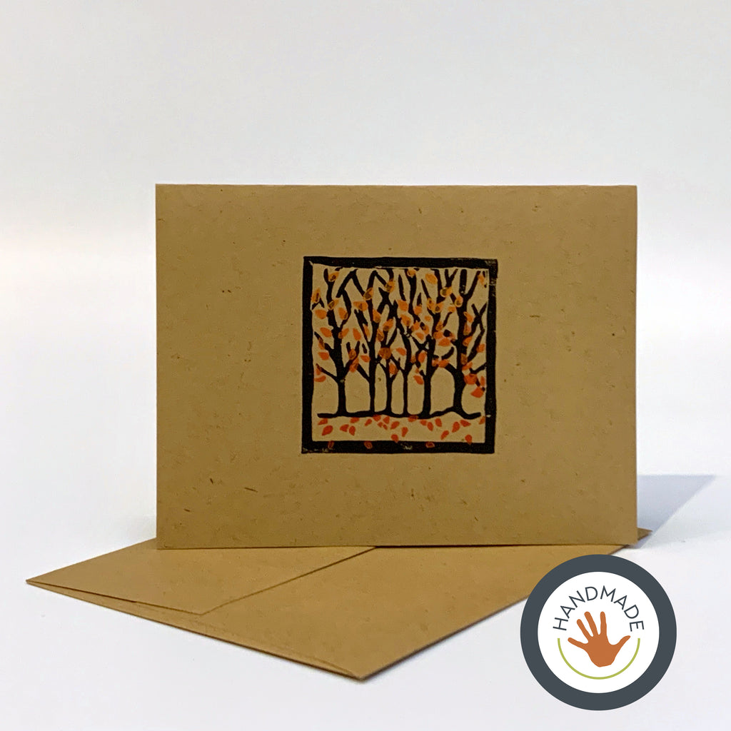 Greeting card | HANDMADE | Autumn | Trees Collection | Block-printed