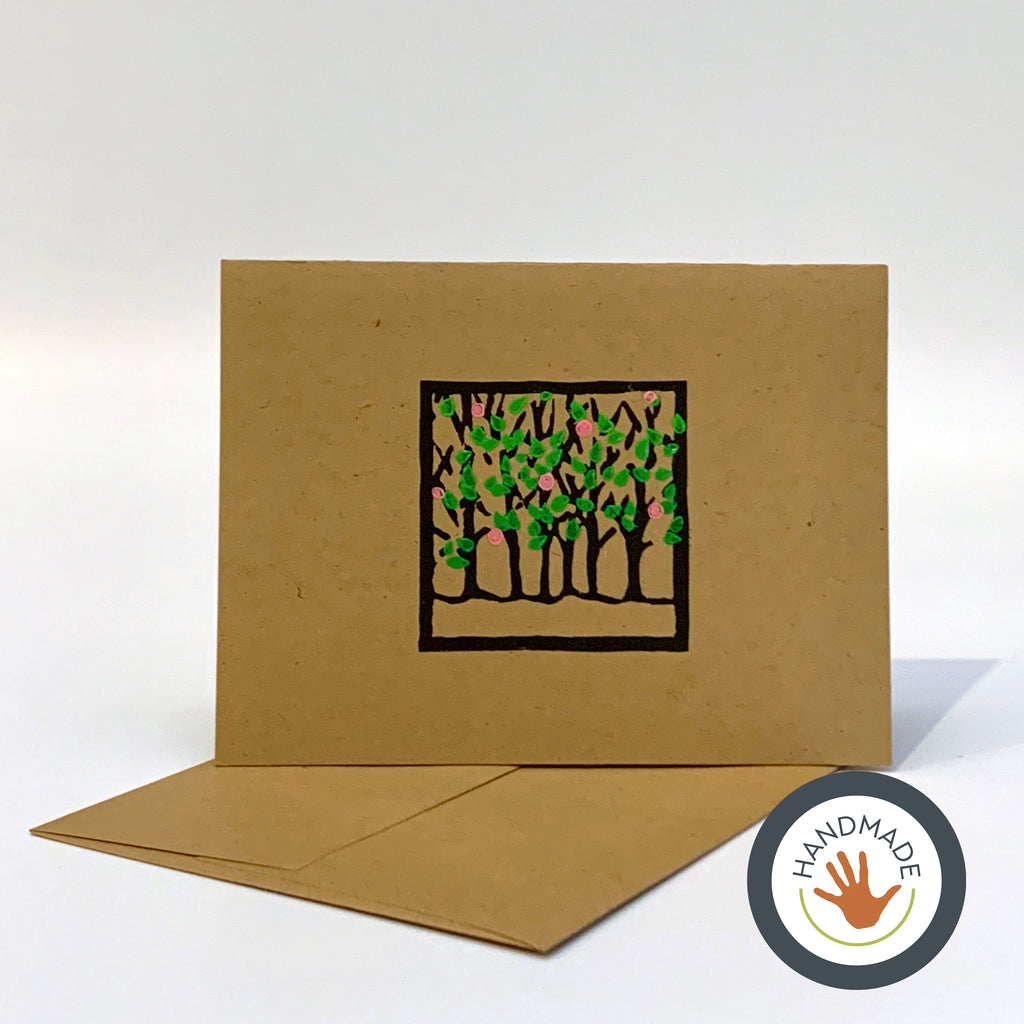 Greeting card | HANDMADE | Spring | Trees Collection | Block-printed