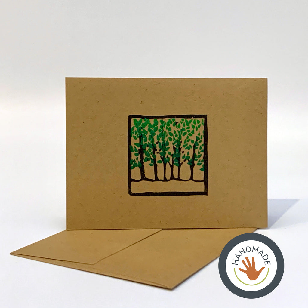 Greeting card | HANDMADE | Summer | Trees Collection | Block-printed