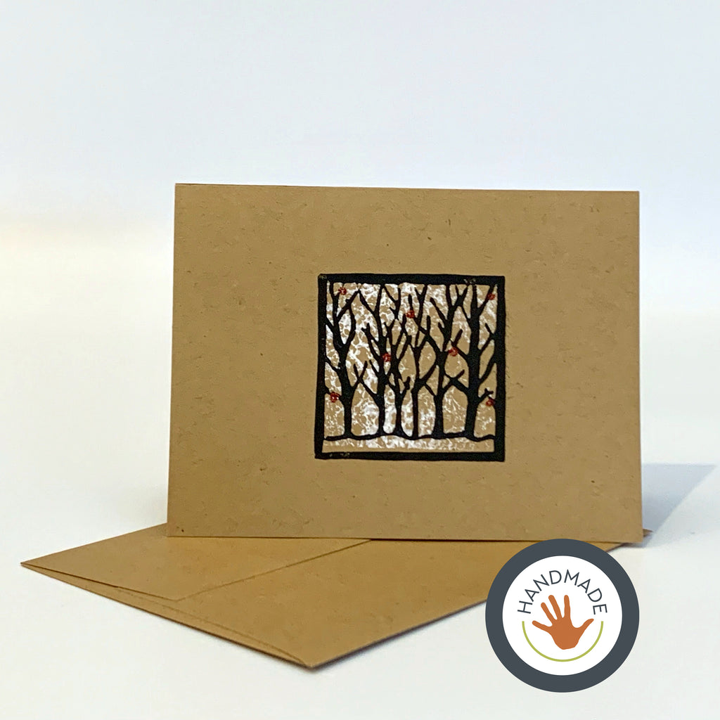 Greeting card | HANDMADE | Winter | Trees Collection | Block-printed