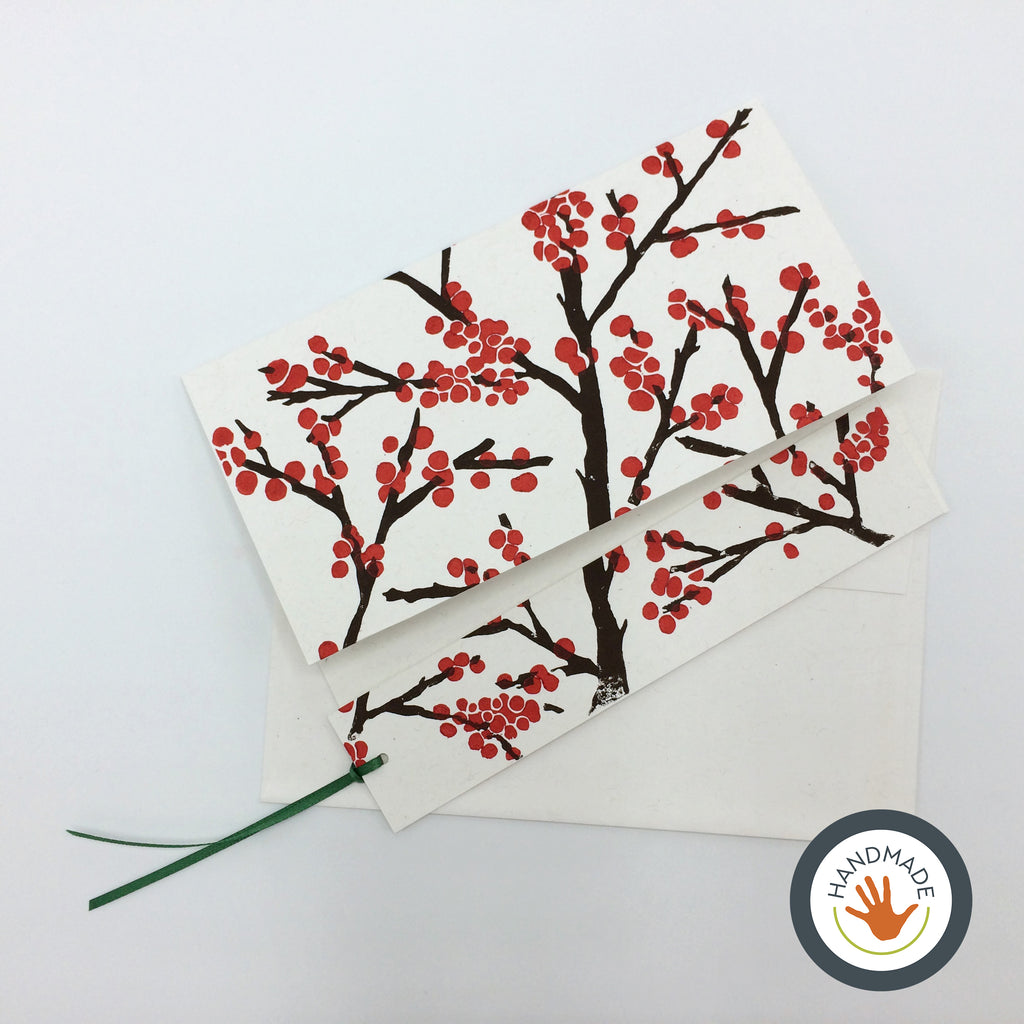 Greeting card | HANDMADE | Block-printed Winterberries | With bookmark