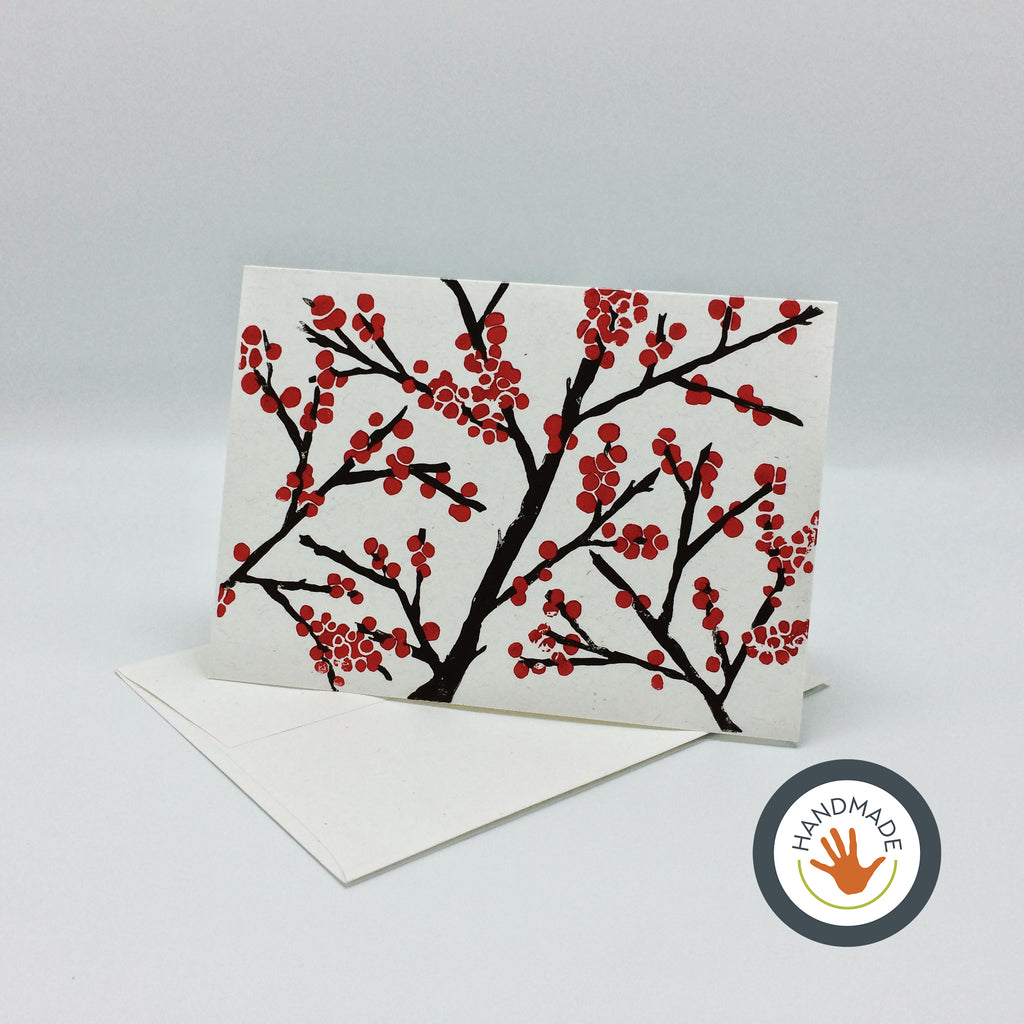 Greeting card | HANDMADE | Winterberries | Block-printed