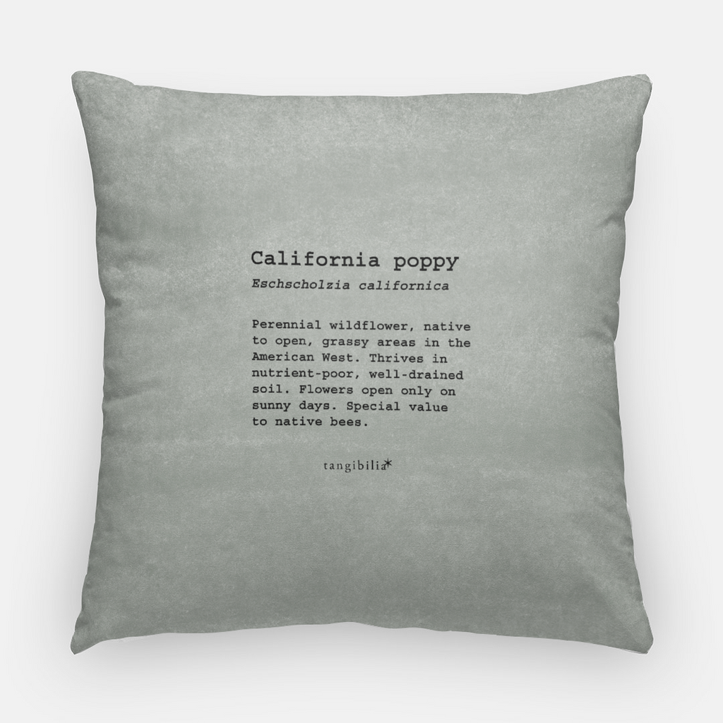 Throw pillow | Square | California Poppy Pattern | Native Flowers | 2 Sizes | Insert opt