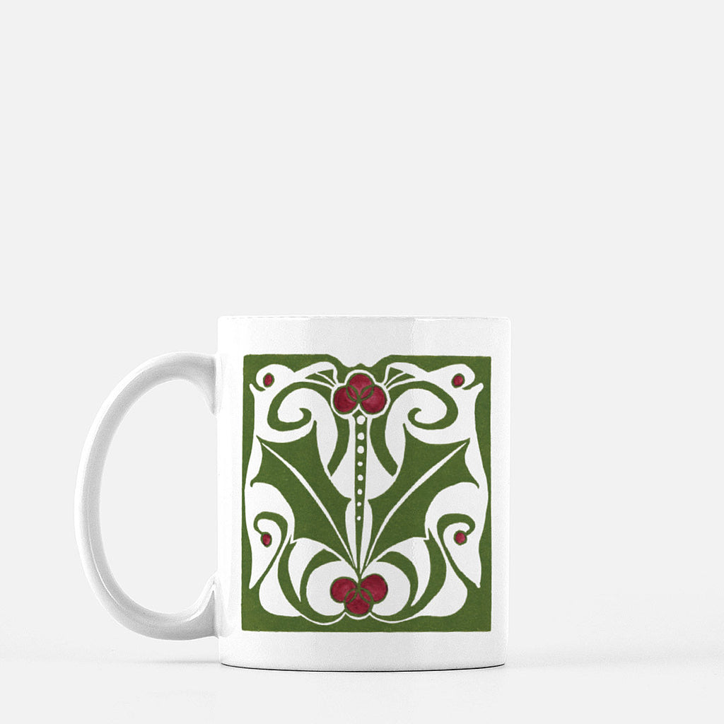 Ceramic mug | Nouveau Holly | Holiday Collection | 11 fl oz