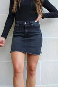 Riley Black Denim Skirt