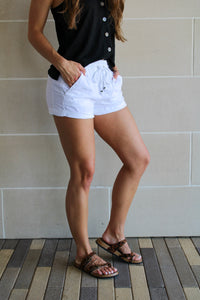 Jenna Linen Shorts - White