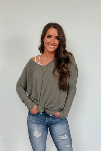 Peyton Open Back Sweater - Olive