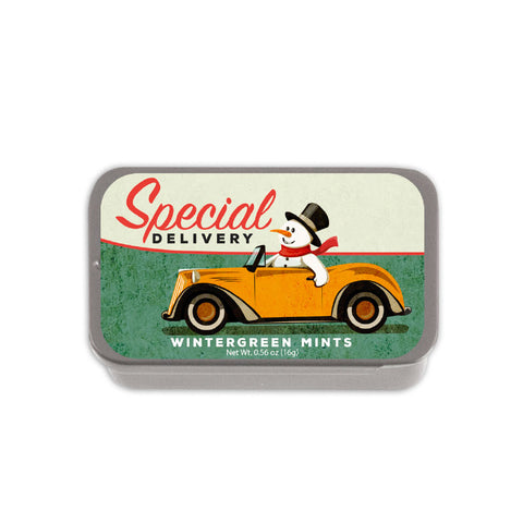 Snowman Special Delivery Slyder Tin