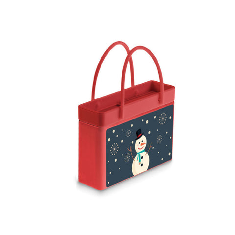 Happy Snowman Shopping Bag Tin