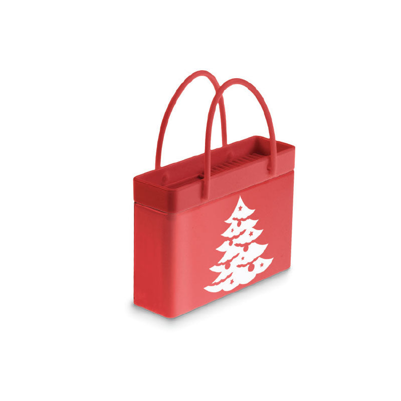 White Christmas Tree Shopping Bag Tin