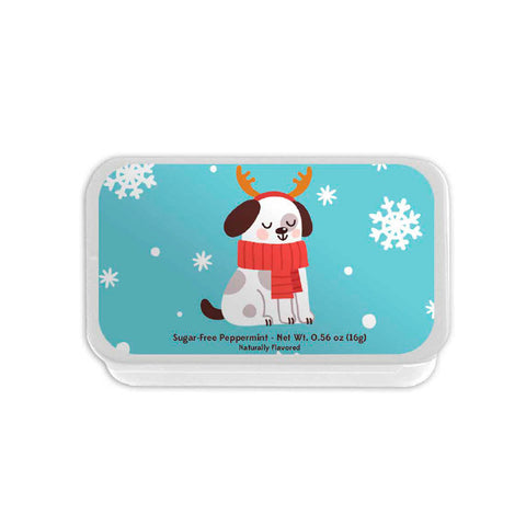 Puppy with Antlers & Scarf Slyder Tin
