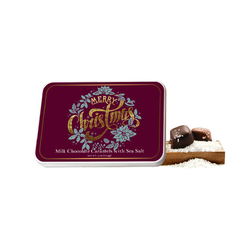 Merry Christmas Golden Type Gift Tin