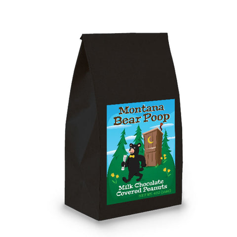 Black Poop Bag with Milk Chocolate Covered Peanuts