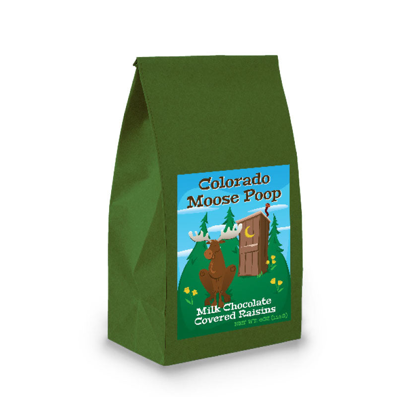 Dark Green Poop Bag with Milk Chocolate Covered Raisins
