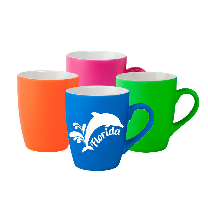 12oz. Neon Soft Touch Ceramic Mugs