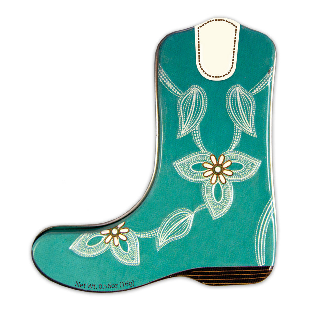 Turquoise Cowboy Boot Shaped Tin - MTR5006F
