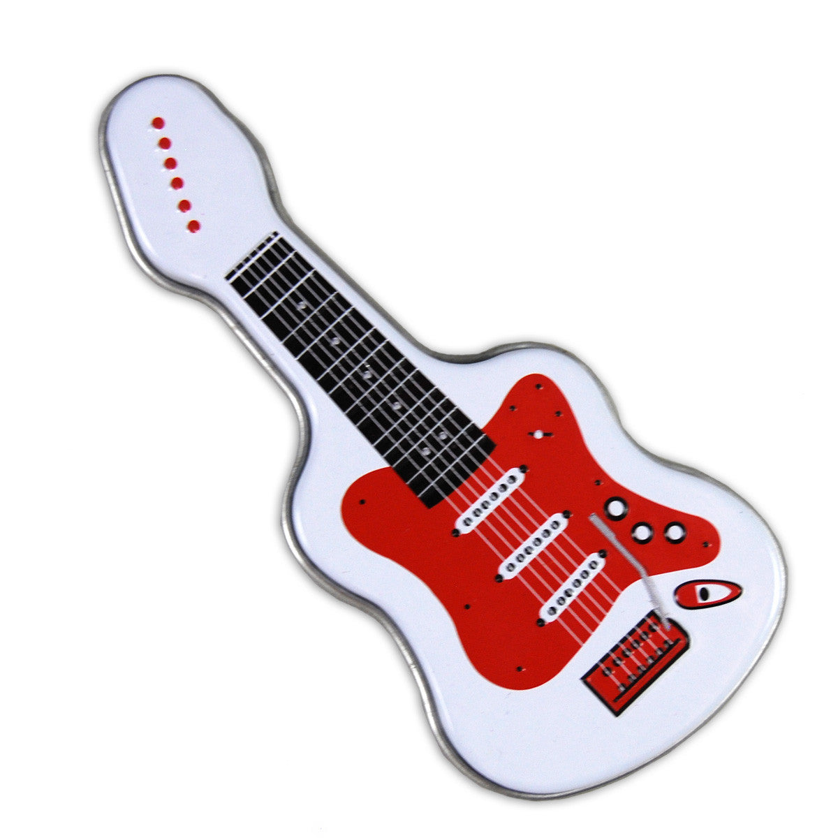 White Electric Guitar Shaped Tin - MTR4045F