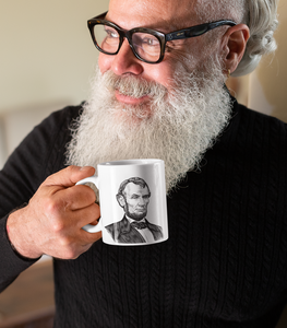 Amazing beard guy drinking 1787 Chateau Margaux from Abraham Lincoln mug