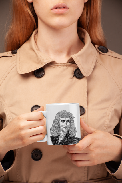 Secret Agent Woman with Sir Isaac Newton Mug