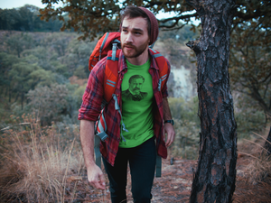 Man on Hike Wearing Teddy Roosevelt Cotton Crew T-Shirt