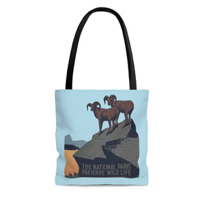 National Parks Preserve Wildlife Tote Bag -- Rams -- WPA - Biblioriot