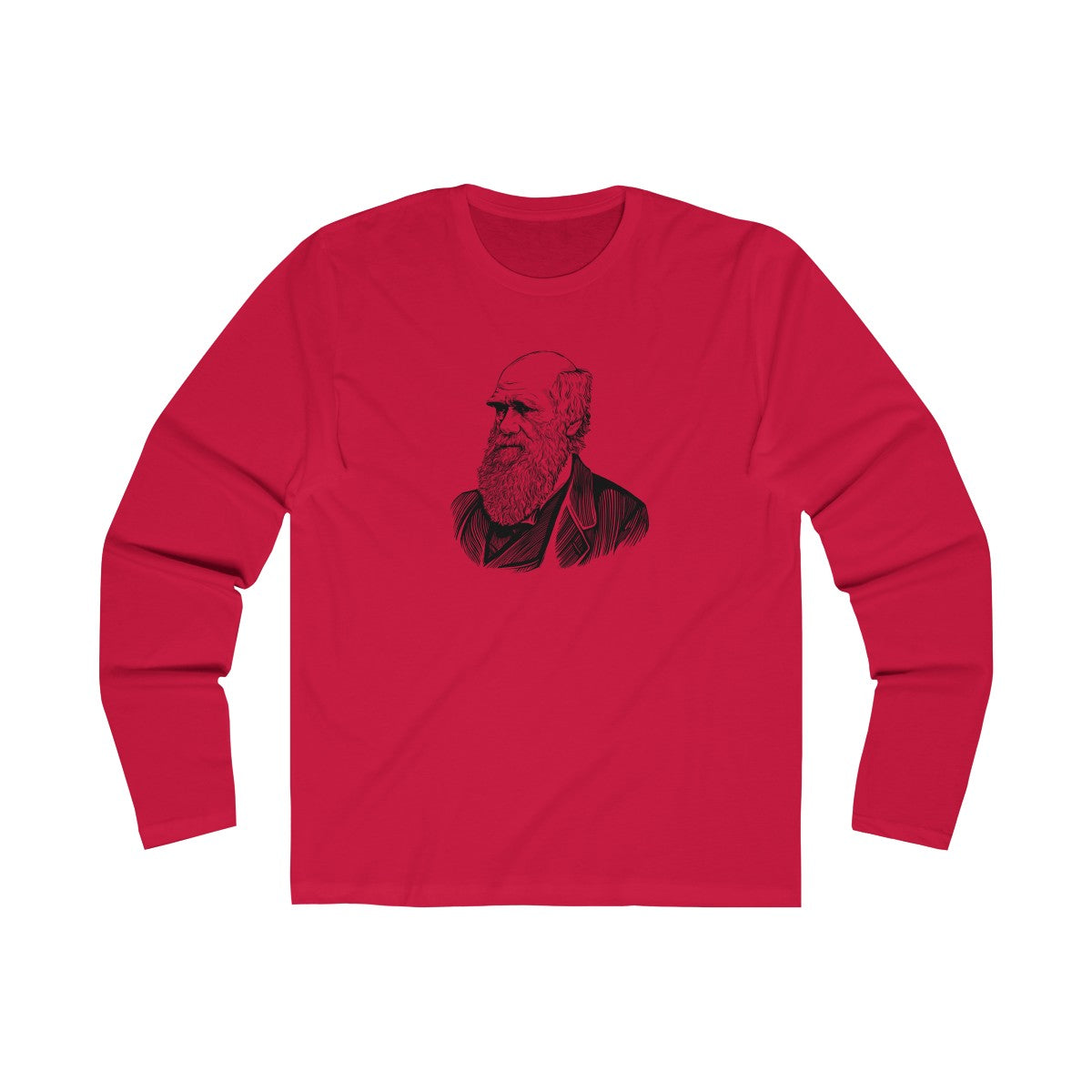 Charles Darwin Long Sleeve Crew T-Shirt - Biblioriot