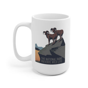 National Parks Preserve Wildlife Ceramic Mug -- Rams -- WPA - Biblioriot