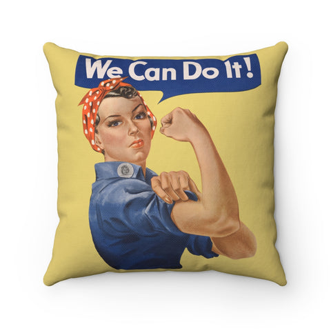 Rosie the Riveter Square Pillow Case -- We Can Do It! - Biblioriot