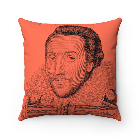 William Shakespeare Square Pillow - Biblioriot