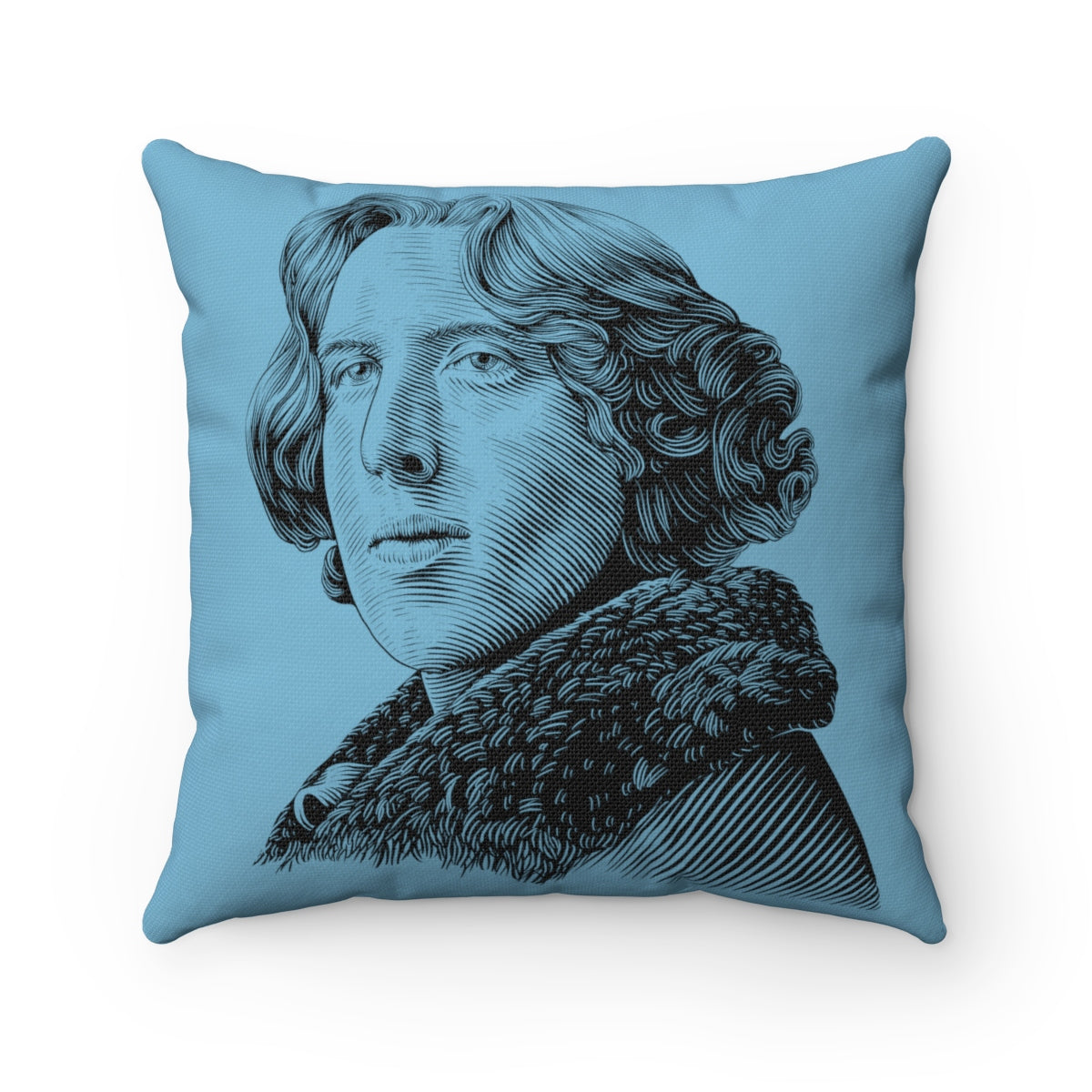 Oscar Wilde Square Pillow (Blue) - Biblioriot