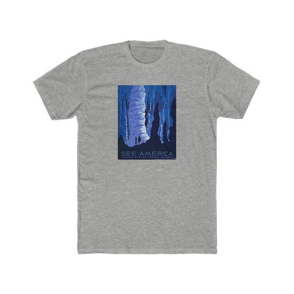 See America Cotton Crew T-Shirt -- Blue Cave - Biblioriot