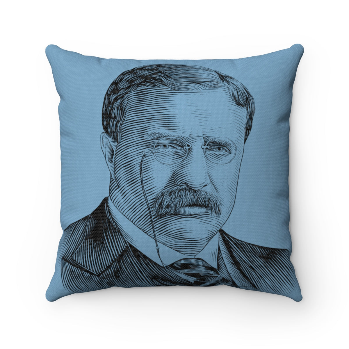 Teddy Roosevelt Square Pillow Case (Slate Blue) - Biblioriot