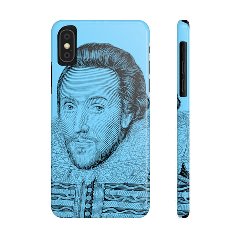 William Shakespeare Case Mate Slim Phone Case (Blue) - Biblioriot