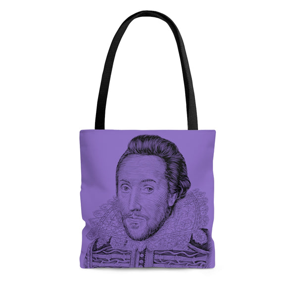 William Shakespeare Poly Tote Bag (Purple) - Biblioriot