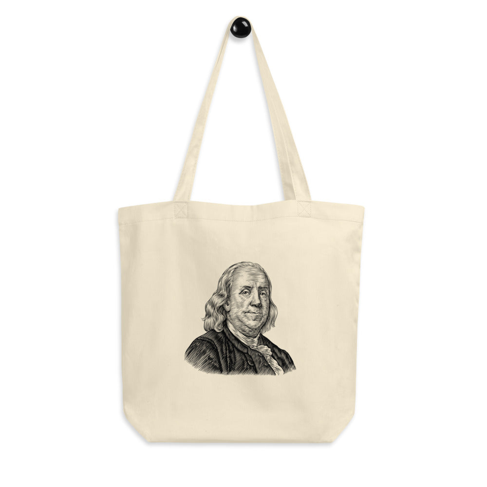 Benjamin Franklin Organic Cotton Tote Bag - Biblioriot