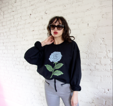 Women's Blue Rose Sweater