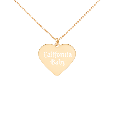 California Engraved Heart Necklace