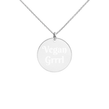 Vegan Grrrl Engraved Silver Disc Necklace