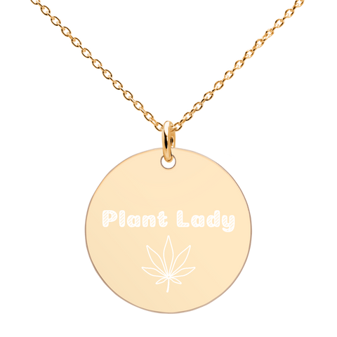 Engraved Plant Lady Silver Disc Necklace